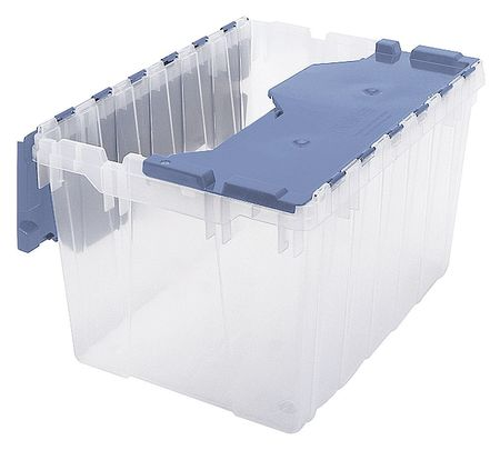 Attached Lid Container, Clear/Blue