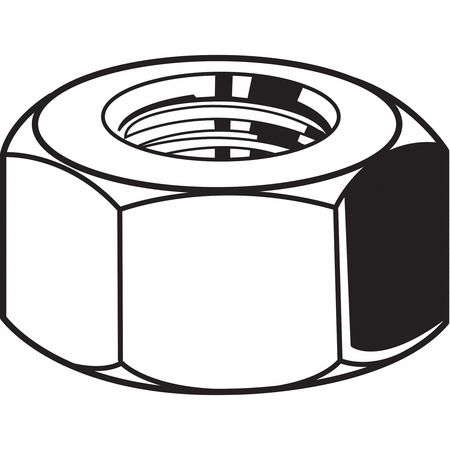"5/8""-11 Grade 2 Plain Finish Steel Hex Nuts,  25 pk."