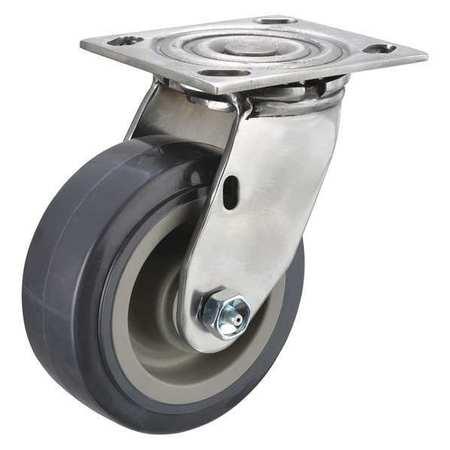 Swivel Plate Caster, 750 lb., Delrin, Gray