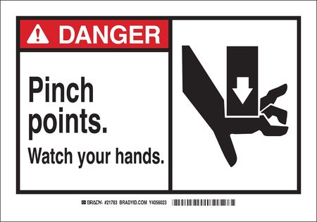 Danger Sign, 3-1/2 x 5 In., Self-Adhes.