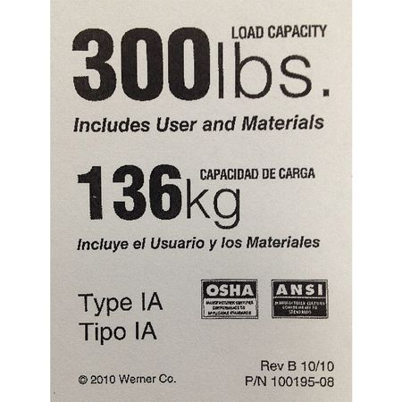 Werner Duty Rating Label Replacement 300 Lb Ldr300