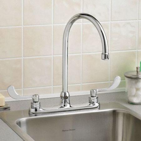 Swing Gooseneck Kitchen Faucet, Polished Chrome, 3 Holes, ADA Compliant