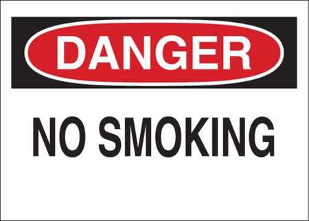 Danger No Smoking Sign, 10 x 14In, ENG