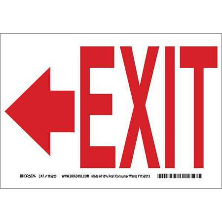 Exit Sign, 10 x 14In, R/WHT, Exit, ENG, SURF