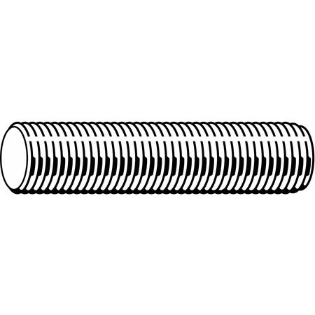 "1/2""-13 x 2' Plain Low Carbon Steel Threaded Rod"