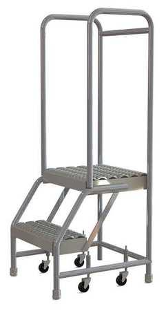 TRI-ARC WLAR102165 Rolling Ladder,2 Steps, Serrated Tread