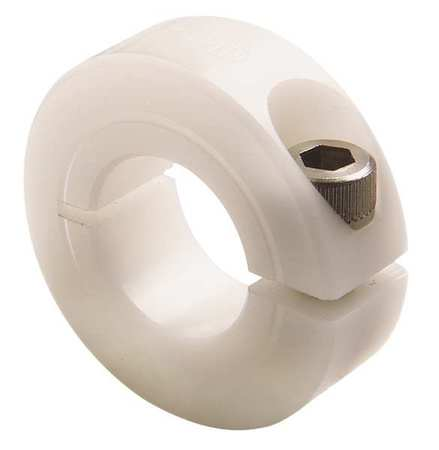 Shaft Collar, Clamp, 1Pc, 1/2 In, Plastic