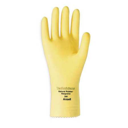 Chemical Resistant Glove,  Natural Rubber/Neoprene,  Yellow,  Size 8