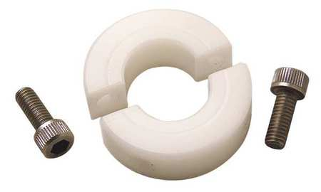 Shaft Collar, Clamp, 2Pc, 3/8 In, Plastic