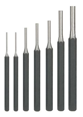 Pin Punch Set, 1/16 To 5/16 In, 7 Pc