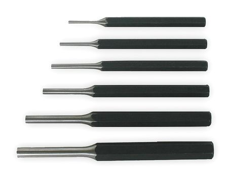 Pin Punch Set, 3/32 To 5/16 In, 6 Pc