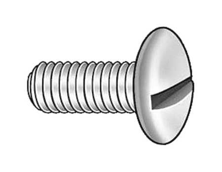 "#2-56 x 1"" Round Head Slotted Machine Screw,  100 pk."