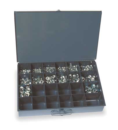 Grade C Zinc Plated Finish Steel Prevailing Torque Hex Lock Nut Assortment,  176 pc.