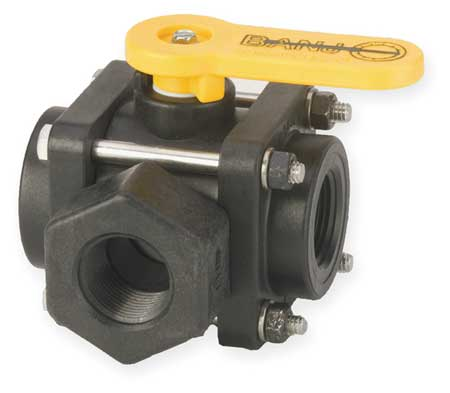 "1"" FNPT Polypropylene Ball Valve 3-Way Union"