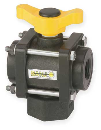 Poly Ball Valve, 3-Way, FNPT, 3/4 in