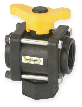"1-1/2"" FNPT Polypropylene Ball Valve 3-Way"
