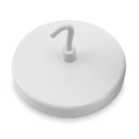 Magnetic Hook, White, 55 Lb, 2.625 In Dia