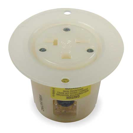 20A Single Flanged Receptacle 250VAC 6-20R WH