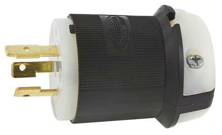 20A Locking Plug 2P 3W 600VAC L9-20P BK/WT