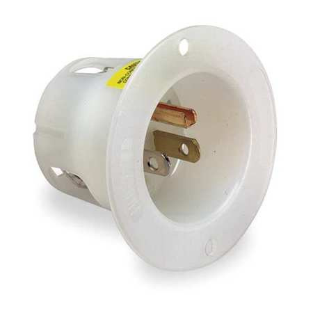 15A Flanged Inlet Receptacle 125VAC 5-15P WH