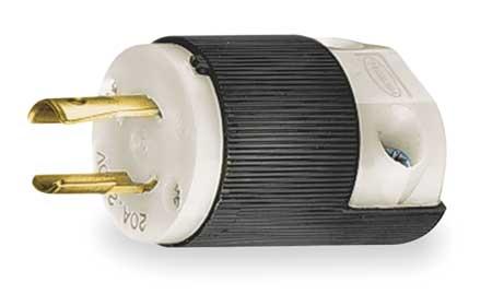 20A Locking Plug 2P 2W 250VAC L2-20P BK/WT