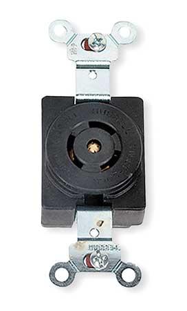 15/10A Locking Receptacle 3P 3W 125/250VAC BK