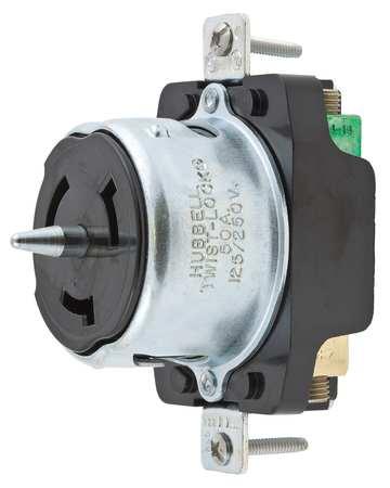 50A Locking Receptacle 3P 4W 125/250VAC BK