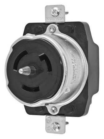50A Locking Receptacle 2P 3W 480VAC BK