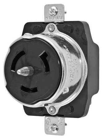 50A Locking Receptacle 2P 3W 250VAC BK