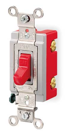 Wall Swtch, 1-Pole, 120/277V, 20A, Red, Toggl