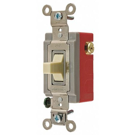 Wall Switch,  2-Pole,  120/277V,  20A,  Ivory,  Toggle