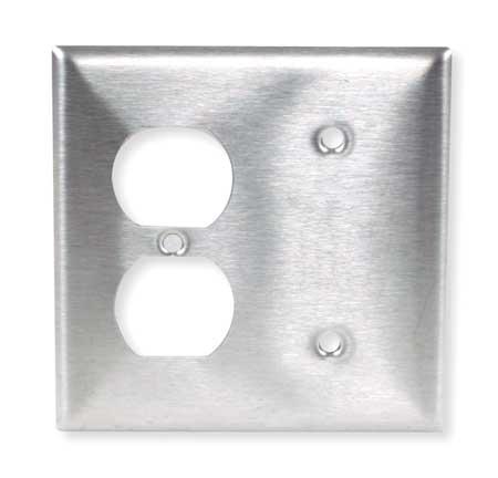 Duplex/Blank Wall Plate, 2 Gang, Silver