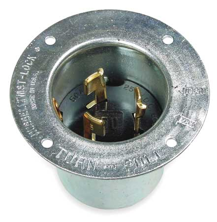 50A Flanged Locking Inlet 3P 4W 600VAC/250VDC