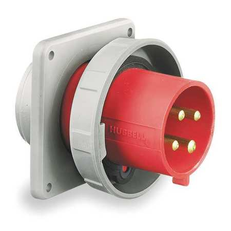 IEC Pin and Sleeve Inlet, 30A, 480V, Red