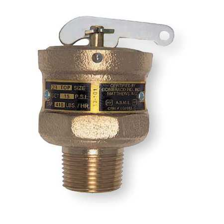 Safety Relief Valve, 3/4 In, 10 psi, Bronze