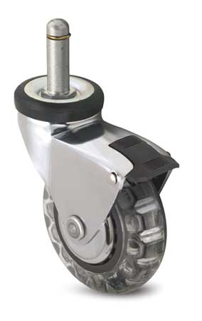 Swivel Stem Caster w/Brake, 3 in., 120 lb.