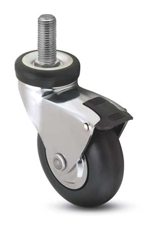 Swivel Stem Caster w/Brake, 3 in., 110 lb.