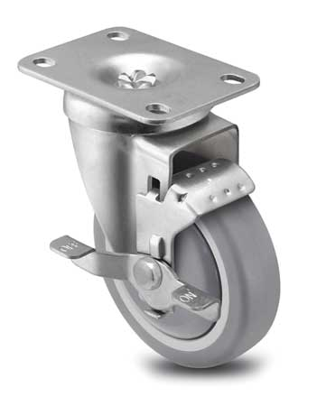 Swivel Plate Caster w/Brake, 300 lb., Plate Type C