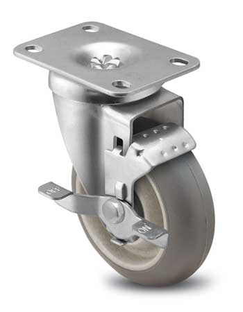 Swivel Plate Caster w/Brake, Monoprene, 6in, 325 lb