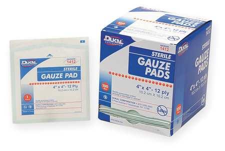 Gauze Pad, Sterile, White, Gauze, PK100