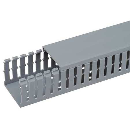 Wire Duct, Narrow Slot, Gray, 4.25 W x 4 D