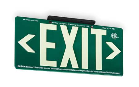 Exit Sign, 8-5/8 x 15-7/8In, WHT/GRN, Exit