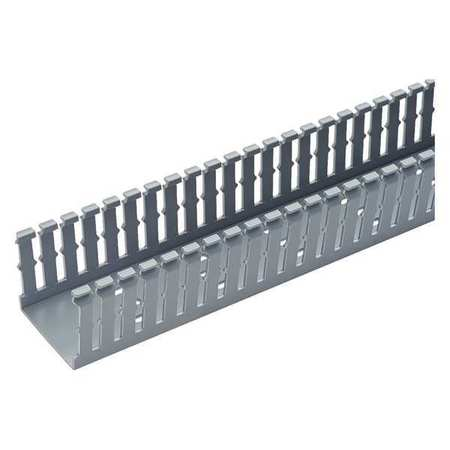 Wire Duct, Narrow Slot, Gray, 3.25 W x 3 D