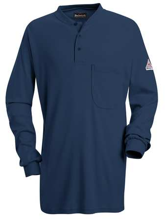 FR Lng Slv Henley Shirt, Navy, 2XLT, Button