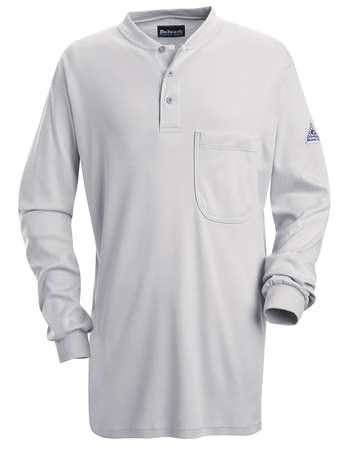 Flame Resistant Henley Shirt,  Gray,  Cotton,  XLT