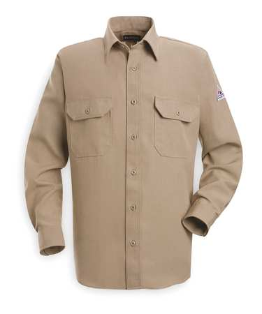 FR Long Sleeve Shirt, Tan, M, Button