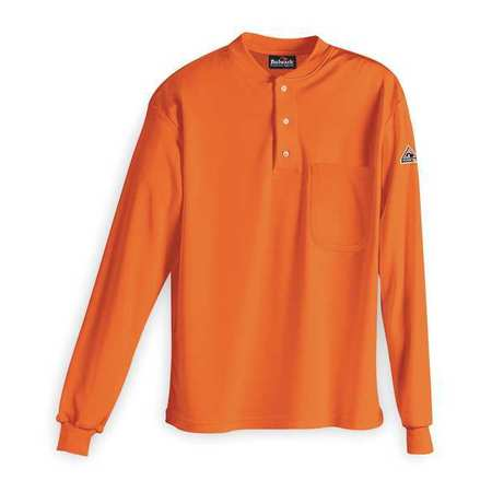 Flame Resistant Henley Shirt,  Orange,  Cotton,  3XL