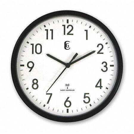 "13-1/2"" Analog Quartz Atomic DST Wall Clock,  Black"