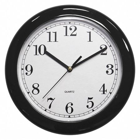 "8-1/2"" Analog Quartz Wall Clock,  Black"