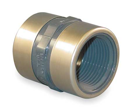 "1/2"" FNPT PVC Stainless Steel Coupling Sched 80"